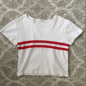 White John Galt Crop Top w/Red Stripes